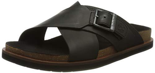 Timberland Amalfi Vibes Cross Slide, Sandalias Hombre, Negro Black Leather, 44 EU