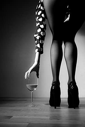 DFRES Sexy Mujer Copa de Vino Cartel impresión Negro Blanco Pared Arte Figura Lienzo Pinturas Sala de Estar Dormitorio decoración de la Pared Imagen 50x70cm sin Marco