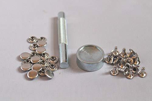 100 silberne 7 mm 8 mm 9 mm 10 mm Rohrnieten + Werkzeug Setter-Set für Punk, Biker, Handwerk, DIY, 7 mm