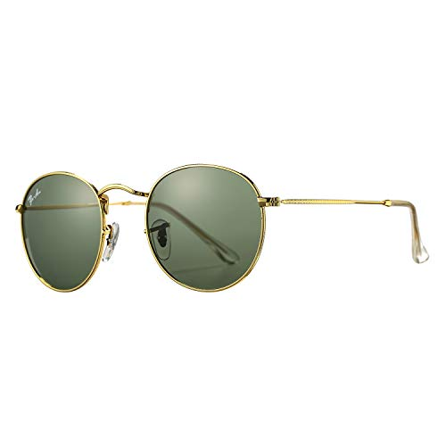 Pro Acme PA3447 Classic Crystal Glass Les Retro Round Metal Sunglasses,50mm (Crystal G15 Green Lens)
