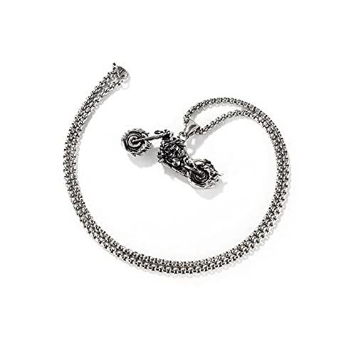 ADDG Collar Colgante de Motocicleta de Acero de Titanio, Collar de Temperamento Simple de Acero Inoxidable de Moda,Plata