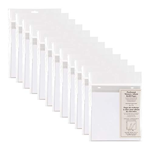 Design Ovation Post Bound 8x8 Memory Scrapbook Refill Pages 10 Pack, Set of 12