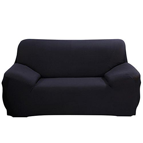 SHANNA - Funda elástica para sillones y sofás de 1, 2, 3 o 4plazas, cubierta antideslizante en tejido elástico extensible, protector, tela, negro, 2-Seater Chair + 1pcs Free Pillowcase