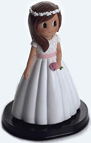 Figura NIÑA para Pastel (Tarta) DE COMUNIÓN Medida 15 CM Diadema Flores Blancas