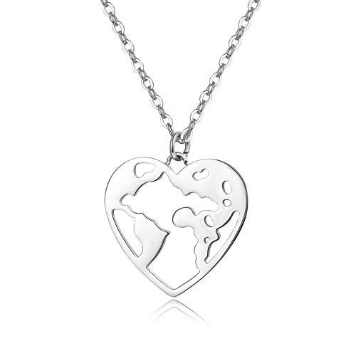 URBANHELDEN - Damen-Kette mit Herz Weltkarten Anhänger - Hochwertige Hals Kette World Amulett aus Edelstahl - Damen Schmuck in Silber