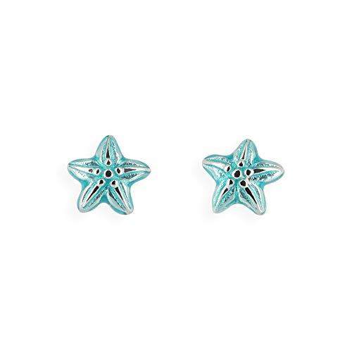 Heartbreaker- Orecchini a forma di stella marina piccoli in vero argento   collezione Sealife   orecchino blu a perno d'argento sterling 925   elegante per donne   LD SL 25 BU
