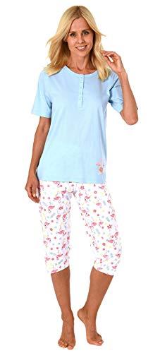 Damen Capri Pyjama Schlafanzug Kurzarm mit Knopfleiste und süssen Flamingo-Motiv 191 204 90 104, Farbe:hellblau, Größe2:40/42