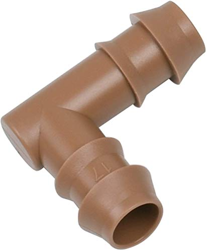 """Jayee 25 Pack Drip Irrigation Barbed Elbow Fittings (17mm) for 1/2' Drip Hose(0.600""""ID),Sprinkler Tubing Connector for Drip System"""