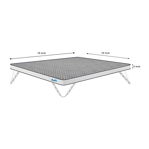 Durfi Mattress Topper Firm 2-Inch Orthopedic King Size Memory Foam in Grey (72x72x2 Inch, Memory Foam)