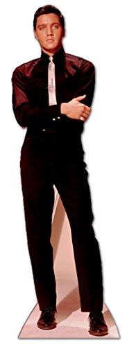 Star Cutouts Pappaufsteller von Elvis in Anzug und Krawatte (schwarz/weiß)