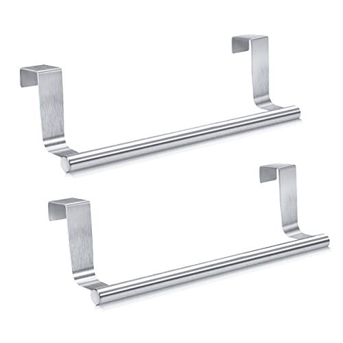 Mosuch Stainless Steel Over Door Towel Rack Bar Holders for Universal Fit on Cabinet Cupboard Doors Pack of 2