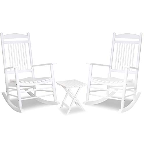 Mupater Outdoor Rocking Chair Set 3-Piece Patio Wooden Rocker Bistro Set with Foldable Table and Curved Seat, White