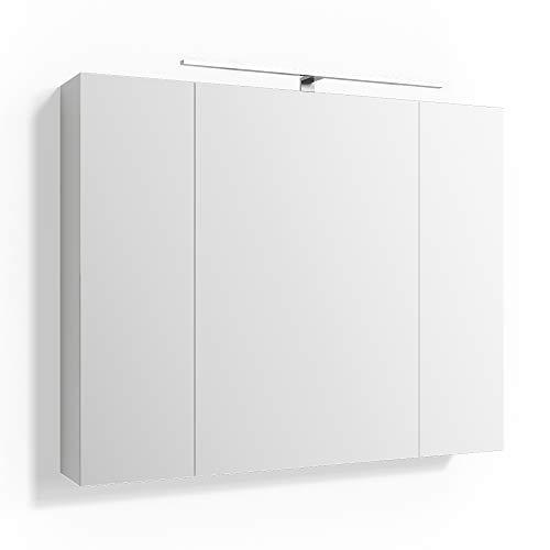 Vicco Spiegelschrank Badschrank Rick LED Beleuchtung Badspiegel Wandspiegel Steckdose 3 Spiegeltüren 6 verstellbare Einlegeböden (90x72x15cm)