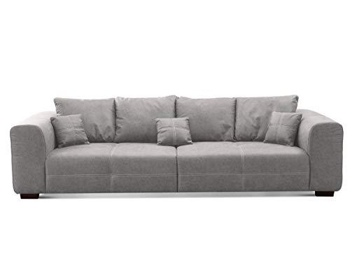 CAVADORE Big Sofa Mavericco inkl. Kissen / XXL-Couch mit tiefen Sitzflächen und modernem Design / 287 x 69 x 108 / Lederoptik grau