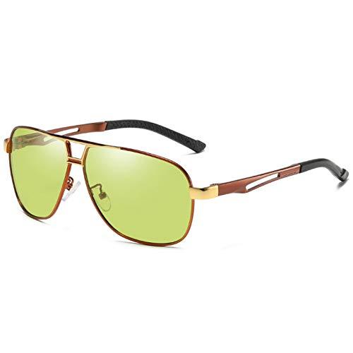 Burenqi Diseño Conducir Gafas de Sol fotocromáticas Hombres Decoloración polarizada Gafas de Sol,Tea and Gold