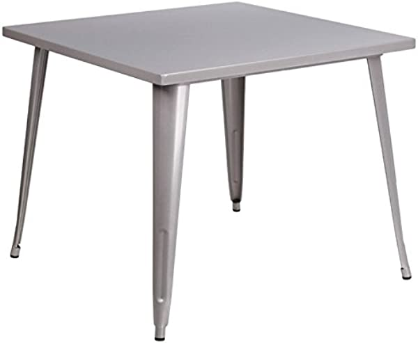 BOWERY HILL 35 5 Square Metal Dining Table In Silver
