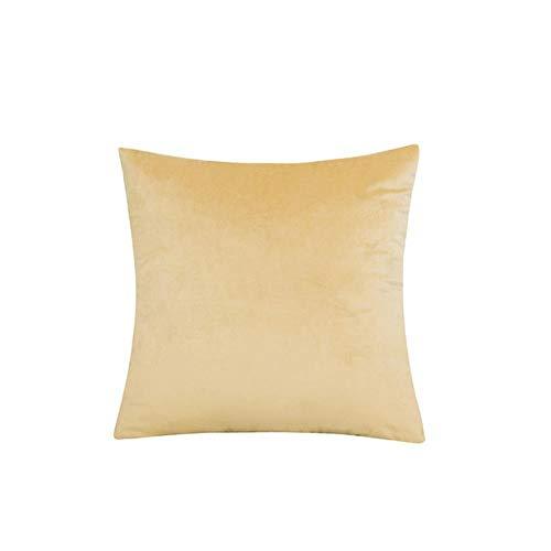Velvet Throw Pillow Cover Soft Decorative Square Cushion Case for Sofa Bedroom Car Home 55x55/60x60cm Cozy Pillowcase-Straw Yellow,45x45cm