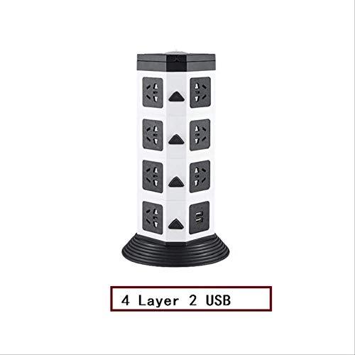 Tower Power Strip Vertikale Multi-Buchse mit zwei USB-Löchern Steckdosen Verlängerungskabel LED-Beleuchtung Israel PLUG 4 Layer 2 USB
