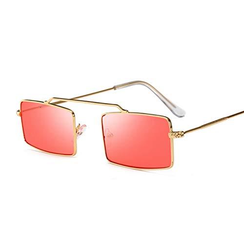 YSJJLRV Lentes de Sol Square Gafas de Sol Púrpura Mujeres Tendencia Metal Marco Pequeño Pequeño Sol Plaza Gafas Mujer Vintage Rectangular Flyny (Lenses Color : GoldRed)