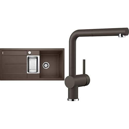 BLANCO Spül-Set in café braun – METRA 6 S – Granitspüle aus SILGRANIT für 60 cm Unterschränke + LINUS-S – Küchenarmatur in SILGRANIT-Look – mit herausziehbarem Auslauf
