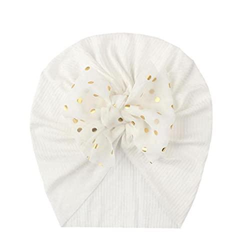 Bebé Bebán Bowknot Turban, lindo sombrero infantil gorra gorros de cabeza envuelve accesorios para el cabello suave al tacto blanco
