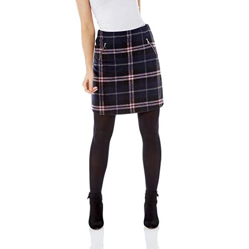 Roman Originals Women Brushed Check Short Skirt – Ladies Smart Casual Going Out Everyday Comfortable Soft Autumn Winter Zip Pocket Printed Fashion