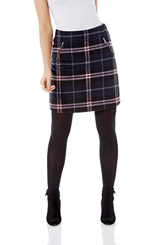Roman Originals Damen Rock aus gebürstetem Stoff Karomuster - Damen Lässig-Elegante, modische Röcke mit Muster, Zipptaschen, zum Ausgehen, für jeden Tag, weich, bequem - Marine-Blau - Größe 46
