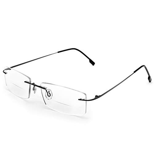 Flexible Titanium Rimless Frame Bifocal Reading Glasses +2.50 Men Women Lightweight Readers