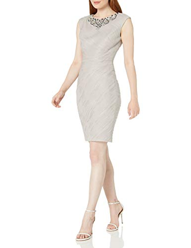 Eliza J Women's Cap Sleeve Sheath Dress with Beaded Necklace, Taupe, 4