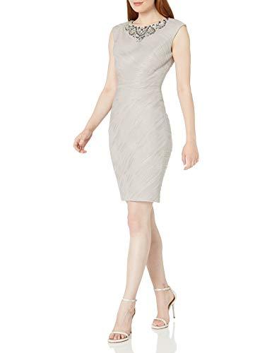Eliza J Women's Cap Sleeve Sheath Dress with Beaded Necklace, Taupe, 14