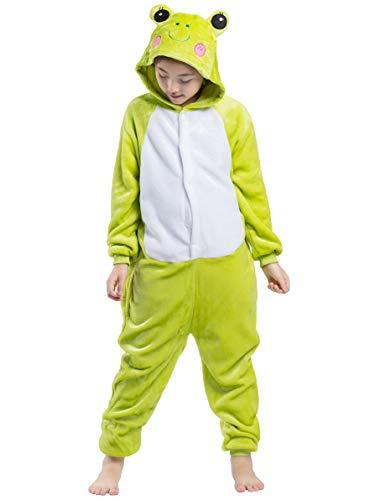 Kigurumi Pijama Animal Entero Unisex para Niños con Capucha Cosplay Pyjamas Rana Ropa de Dormir Traje de Disfraz para Festival de Carnaval Halloween Navidad