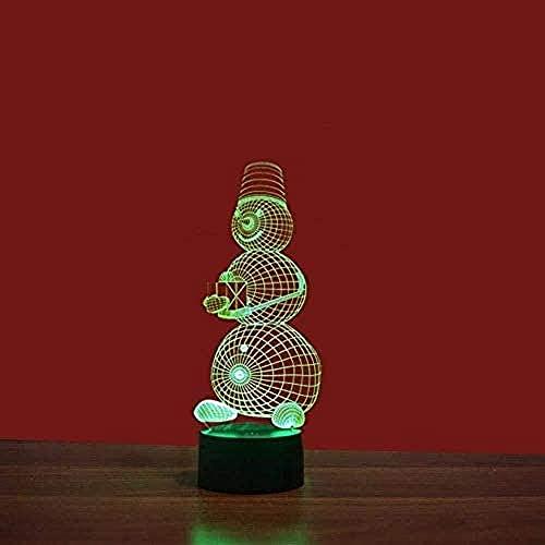 Luces De Ilusión 3D Lámpara De Tabla Para Decoración Del Hogar Monigote De Nieve 7 Colores Cambio De Botón Táctil Usb De Suministro De Energía Cumpleaños Navidad Festival Regalos Para Para Niños