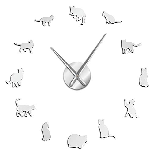 Silueta Gatos Arte de Pared Gatitos DIY Gigantes Reloj de Pared Gatos Juguetones Gatos Grandes Aguja Gatito Sala de Niña Grande Reloj de Pared (Plata, 27 pulgadas)
