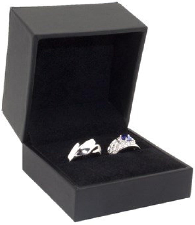 Large Black Leatherette Ring Box Measures 3