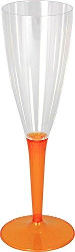 Mozaik Lot de 6 flûtes à champagne en plastique orange (100 ml)
