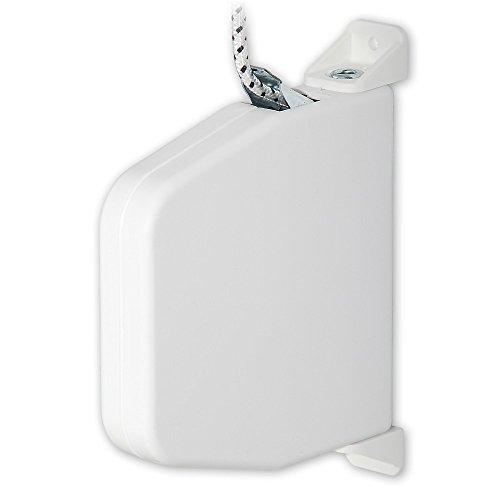Mini-Aufputz-Schnurwickler 'Cordo', Farbe: weiß, inkl. Schnur, Durchmesser 4,5 mm x 5 m Länge, Schnurfarbe: weiß/schwarzes Flechtbild, Lochabstand: 154 mm, 180 Grad schwenkbar, von EVEROXX