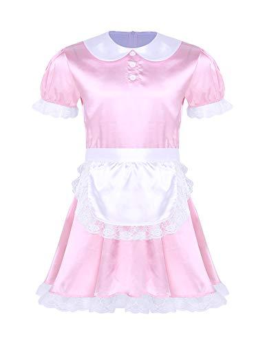 iEFiEL Herren Sissy Dessous Dienstmädchen Kostüm Männer Satin Lolita Kleid Hausmädchen Kostüm Set Faschingskostüm Karneval Party (M, X Rosa)