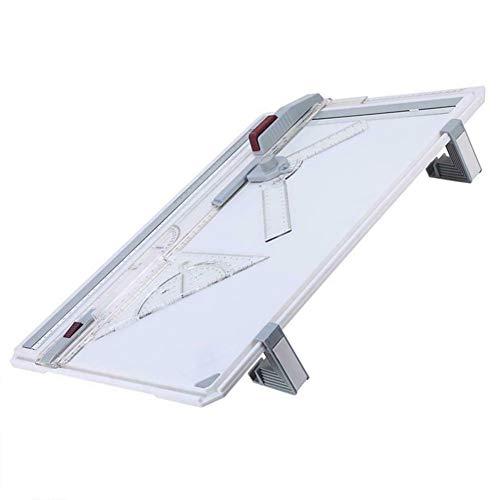 Gelentea Mesa de dibujo profesional A3 tabla técnica con cabezal de dibujo de máquina cuadrada gráfica gráfica tabla de dibujo técnica arquitecto