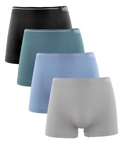 Calzoncillos de Hombre, Licra Sin Costuras Liso Color Uniforme Cómodo Suave Elásticos. Pack de 4 Boxer (Pack B, L)