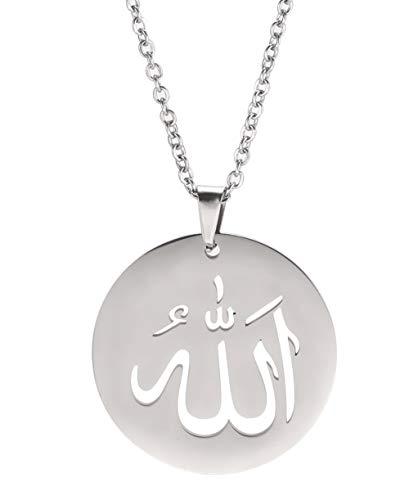 VASSAGO Ancient Islamic Jewelry Allah Anhänger Muslim Halskette Edelstahl Runde Charme Halsketten Segen Glück Schmuck für Männer Frauen (Stil 2)