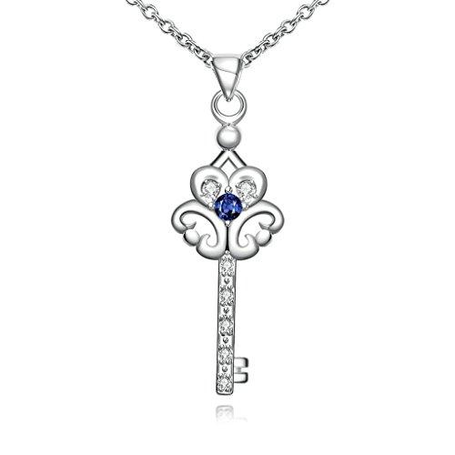 Anyeda Anhänger Halskette,Damen Versilbert Hypoallergen Schlüssel Blau & Silber Link Größe 45X4.3X1.5Cm