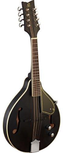 Ortega RMAE40SBK A-Style Serie Mandoline elektrifiziert mit Piezo Tonabnehmer schwarz im seidenmatten Finish mit Ledergurt und hochwertigem Gigbag