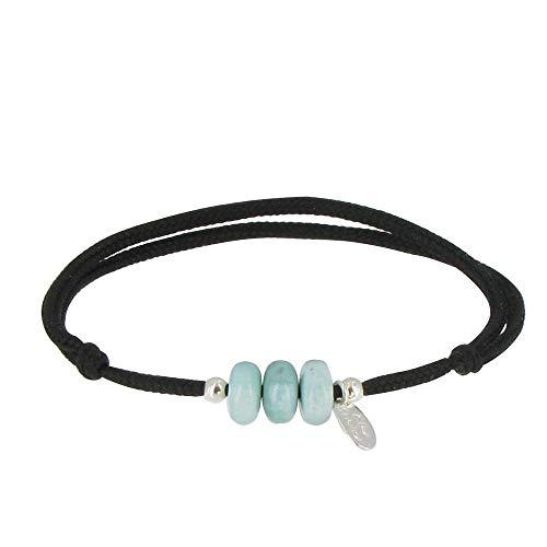 Schmuck Les Poulettes - Armband Schwarz Link 3 Larimar Ringe und Zwei Silber Perlen