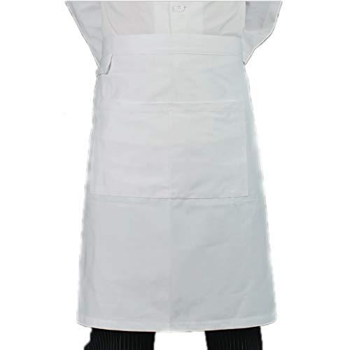 ZAZA Lustige schürzen für männer und Frauen Unisex Taille Schürze, Polyester-Baumwolle Schürze, for Koch, Kochen Küche, Grill und Studio, mit Taschen (Color : Pure White A)