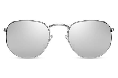 Cheapass Sonnenbrille Hexagonal Silber-n Verspiegelt UV-400 Rund-e Groß-e Designer-Brille Damen Herren