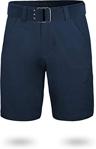 normani Chino Shorts Sommer Bermuda mit Gürtel für Herren aus 100% Bio-Baumwolle - Regular Fit Farbe Navy Größe 3XL
