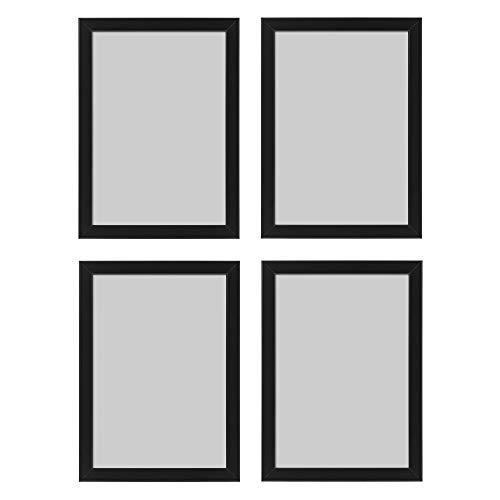 Ikea Fiskbo Bilderrahmen, A4, 21 x 30 cm, schwarz, 4 Stück, Pappe, Faserplatte, Folie, Polystyrol-Kunststoff, Acrylfarbe, Schwarz , 21x30cm