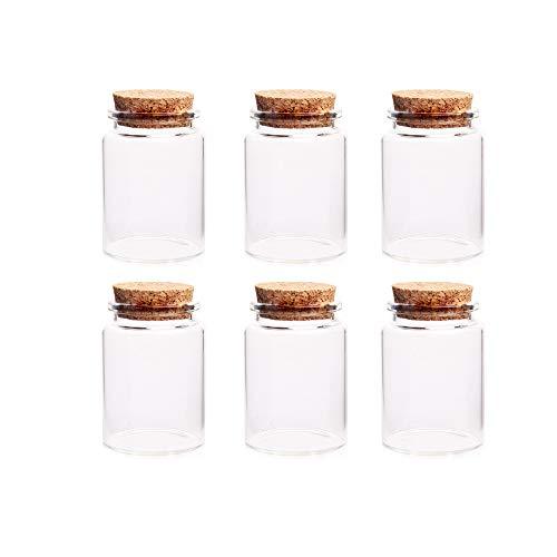 Danmu Art Set di 6 barattoli di vetro con tappo in sughero, per conserve 60 ml
