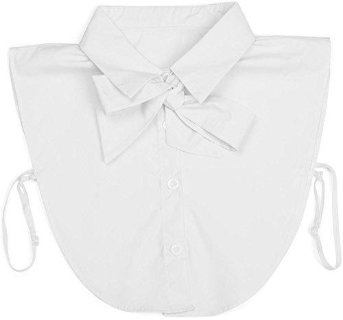 styleBREAKER Damen Blusenkragen Einsatz mit Knopfleiste und Schleife, Kragen für Blusen und Pullover, Schluppenbluse 08020003, Farbe:Weiß