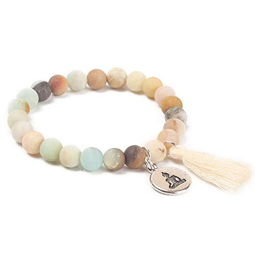 Nobrand Naturstein Lotus Buddha Charm Mala Armband Mit Quaste Turkoois Perlen Armbänder Armreifen Frauen Yoga Gebet Armband Buddhist
